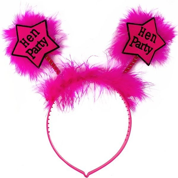 Hot Pink Star 'Hen Party' Headband With Pink Fur