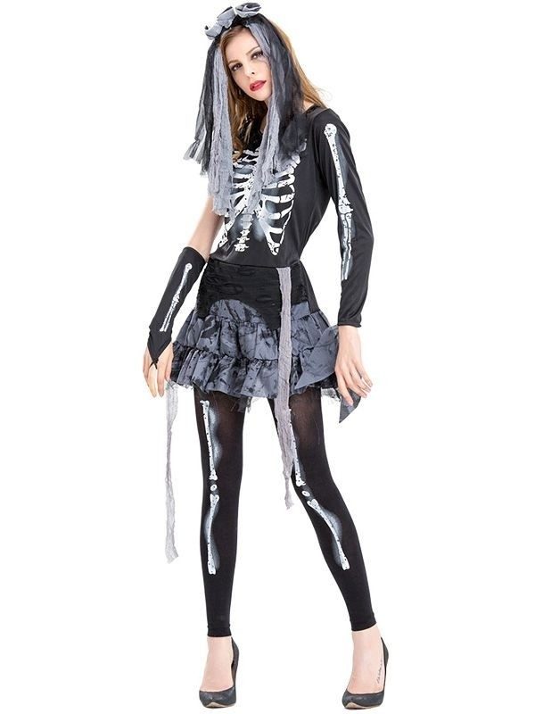 Adults Zombie Ghost Footless Tights Halloween Fancy Dress Costume Accessory