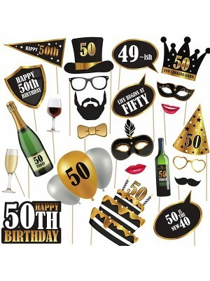 50th Birthday High Quality Props on Sticks