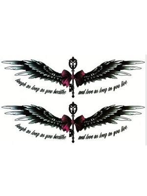 Wings with Bow Medium Sized Temporary Tattoo Body Art Transfer No. 60