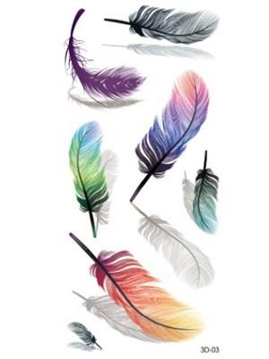 Mixed Feathers Medium Sized Temporary Tattoo Body Art Transfer No. 70