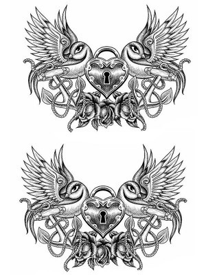 Heart, Rose and Anchor Medium Temporary Tattoo Body Art Transfer No. 81