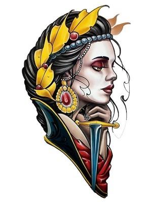Native Warrior Princess with Dagger Medium Temporary Tattoo Body Art Transfer No. 84