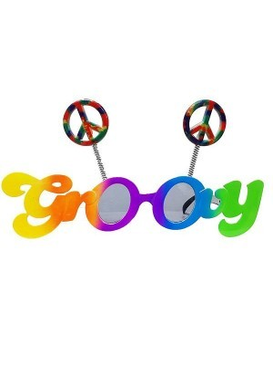 'Groovy' Framed Rainbow Coloured Peace Bopper Sunglasses