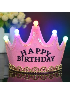 Pink 'Happy Birthday' Crown LED Light Up Tiara