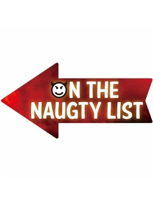 'On The Naughty List' Smoke Arrow Word Board Photo Booth Prop