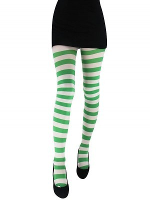 Adult Green & White Striped Tights