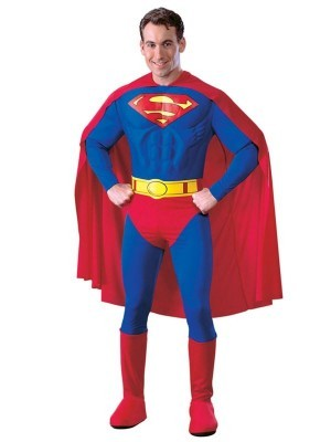 Adult Classic Superman Muscle Chest DC Fancy Dress Costume