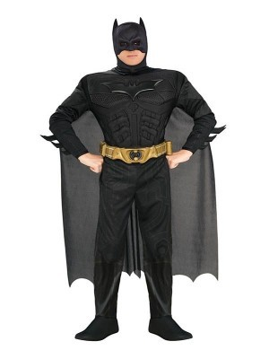 Adult Deluxe Batman Muscle Chest DC Fancy Dress Costume