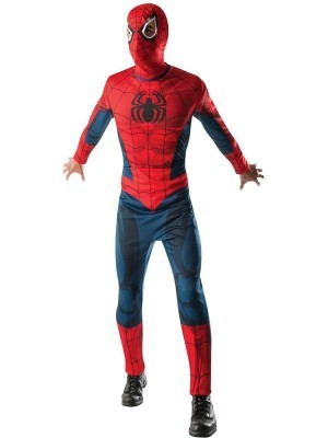 Adult Muscle Shaded Spiderman Marvel Superhero Fancy Dress Costume Size XL