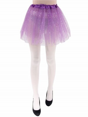 Adult - Purple Tutu Skirt with Silver Stars