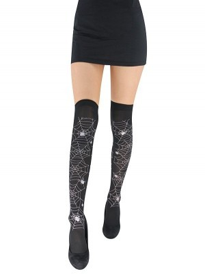 Adult Halloween Stockings - White Spider Webs