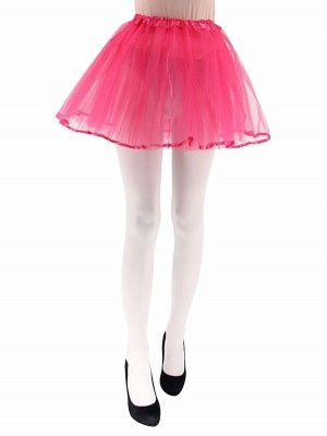 Adult - Hot Pink Tutu Skirt with Ribbon Trim
