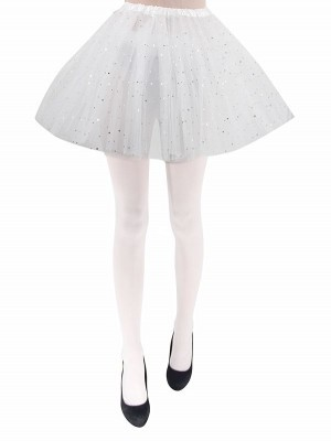 Adult - White Tutu Skirt with Silver Stars