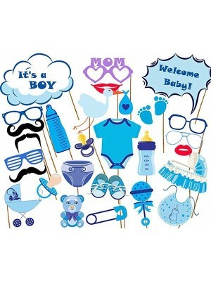 27PCS Baby Shower Photo Booth Props Little Boy New Born Party Decoration in Blue