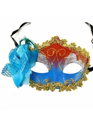 Beautiful Blue Flowered Masquerade Mask in Blue & Red.