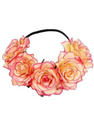 Beautiful Peach With Pink Edges Garland Flower Headband