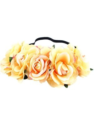Beautiful Yellow With Pink Garland Flower Headband