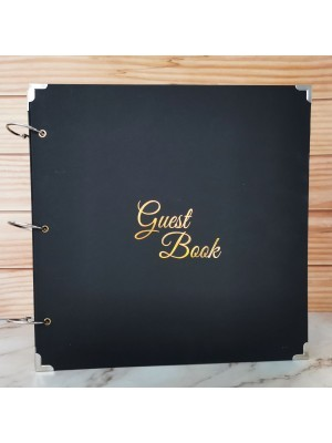 Large Black Guestbook with Golden Guest Book Message
