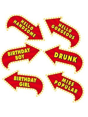 Vegas Showtime Style 'Birthday' Photo Booth Prop Multi Pack of 6