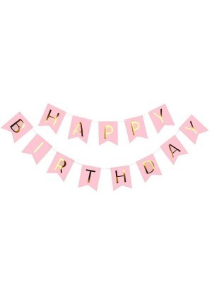Pink With Gold Happy Birthday Banner Party Decorations