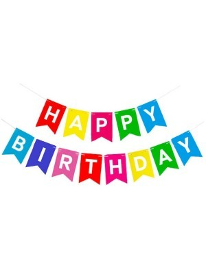 Rainbow Coloured Happy Birthday Banner Party Decorations