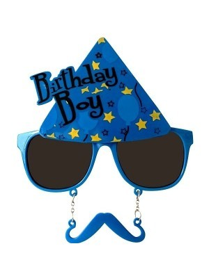 Birthday Boy Blue Party Hat With Moustache Attachment Birthday Glasses
