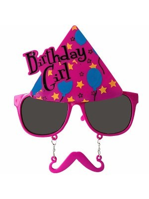 Birthday Girl Pink Party Hat With Moustache Attachment Birthday Glasses