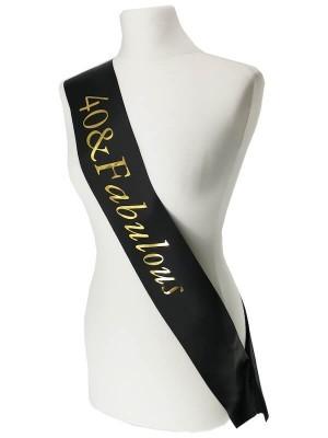 Black With Gold Foil '40 & Fabulous' Birthday Sash