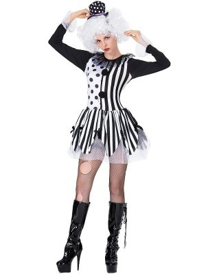 Black and White Creepy Jester Clown Women's Halloween Fancy Dress Costume