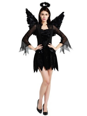 Black Fallen Angel Halloween Fancy Dress Costume - One Size