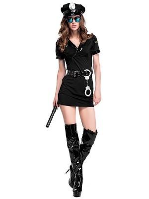 Black Female Cop Fancy Dress Costume