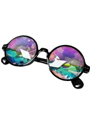 Black Framed Dizzy Eye Kaleidoscope EDM Fun Party Happy Glasses