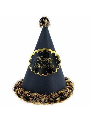 Black Glitter 'Happy Birthday' Paper Hat