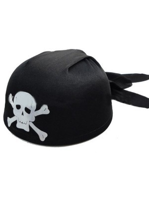 Pirate Skull and Crossbones Bandanna Hat – Black