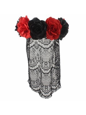 Black & Red Flower Crown With Veil