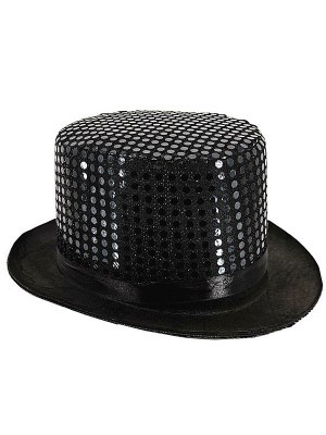Black Sequin Top Hat