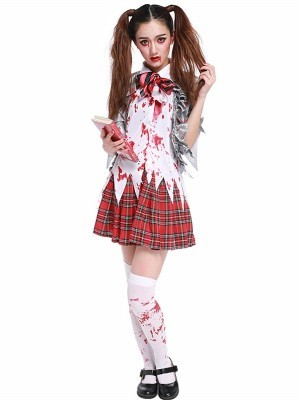 Bloody Schoolgirl Women's Halloween Fancy Dress Costume