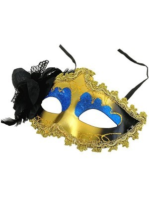 Beautiful Black Flowered Masquerade Mask In Blue
