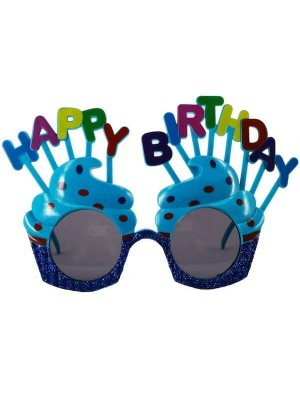 Blue Happy Birthday Cakes With Candles Birthday Glasses