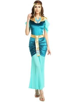 Blue & Gold Cleopatra Egyptian Fancy Dress Costume - One Size