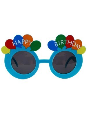 Blue Happy Birthday Rainbow Balloon Birthday Glasses