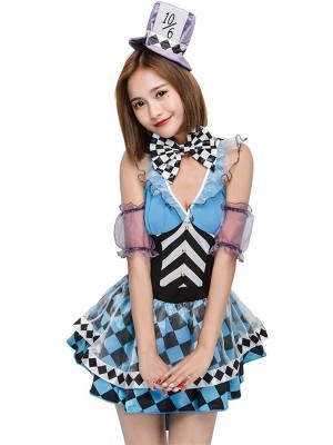 Chequered Blue Tea Party Fancy Dress Costume