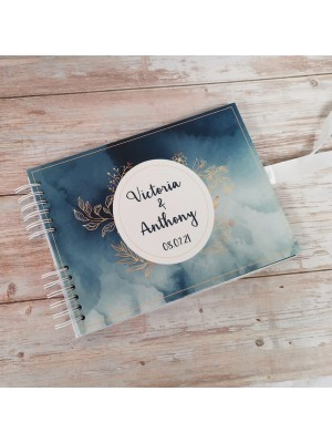 CUSTOM Blue Watercolour With Gold Foliage Guestbook with Different Page Style Options