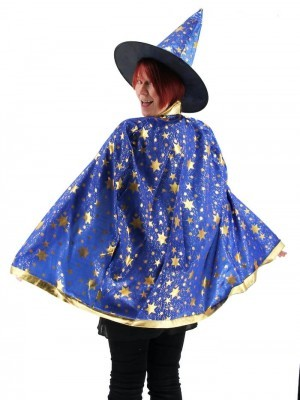Wizard Witches Hat & Cloak Set In Blue