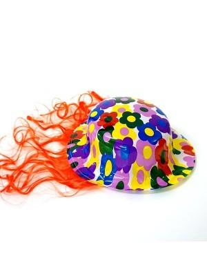 Bowler Hat With Wig Orange