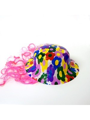 Bowler Hat With Wig Pink