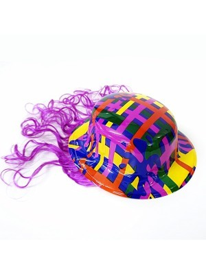 Bowler Hat With Wig Purple