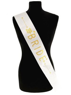 White With Gold Writing 'Bride' Arrow Sash
