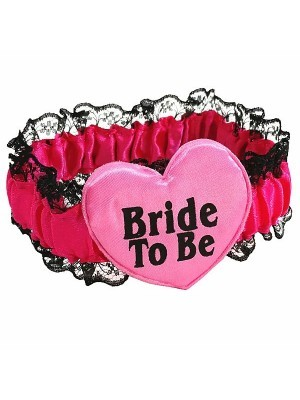 'Bride To Be' Lace Pink Black Garter